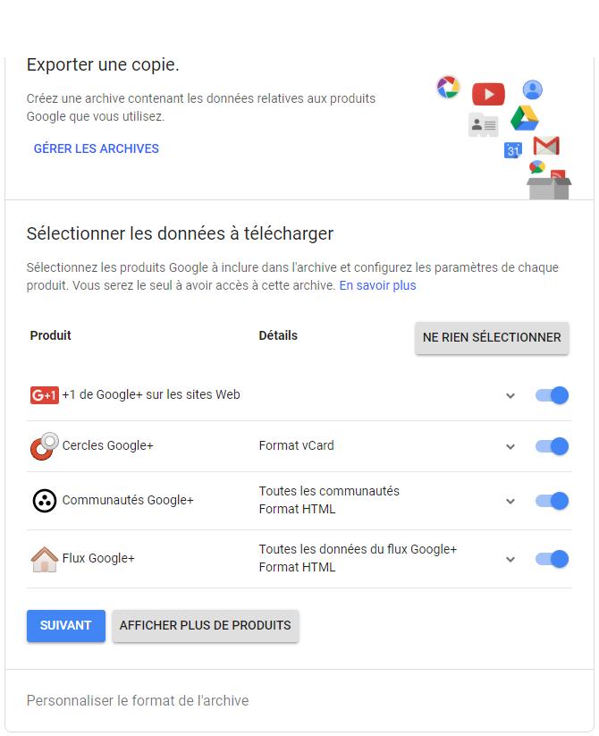 Aperçu interface de sauvegarde Google+